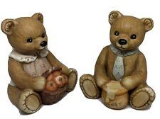 Vintage Homco Boy and Girl Teddy Bear Figurines