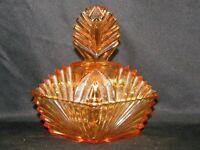 Vintage Antique Amber Art Deco Glass Vanity Dresser Trinket Jar Covered Box