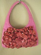 PAOLO MASI ITALY Hot Pink Canvas Leather Flower Petals Hobo Bag