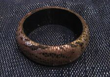 Chunky bangle style bracelet with animal print gold and bronze tone 2½ ins wide
