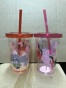 24 x PLASTIC TUMBLER CUP WITH STRAWS RED PINK UNICORN CHRISTMAS KIDS JOBLOT XM59