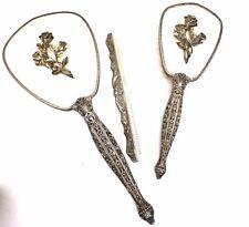 Vintage 3 Pc Vanity Set Mirror Comb Bruch 1950s Heavy Floral Design Metal