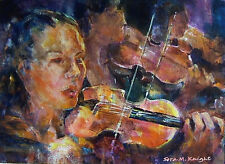 """STUNNING SERA KNIGHT S.W.A ORIGINAL """"The Violins"""" Violinists Orchestra PAINTING"""