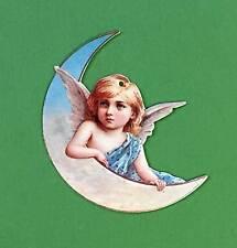 Victorian Christmas Ornament Angel on Half Moon