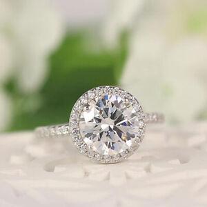 2.40 CT Rundschliff Solitaire Diamant 14K Echt Weißgold Verlobung Ringe Größe 7