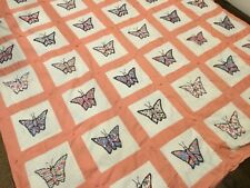 Beautiful vintage basket applique HAND EMBROIDERED colorful quilt