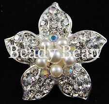 FLOWER DIAMANTE CRYSTAL PEARL BROOCH TIARA MAKING BROOCH BUTTON BOUQUET