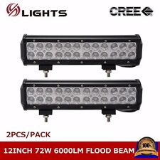 2PCS 12inch 72W CREE LED WORK LIGHT BAR BOAT 4WD TRUCK OFF ROAD LAMP FLOOD BEAM