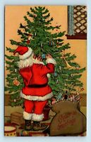 TRUE VTG c1908 CHRISTMAS POSTCARD - SANTA DECORATING TREE - SERIES #1915 - R3