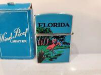 Working Vintage Florida WIND PROOF Double Enamel Lighter / Japan / Original Box