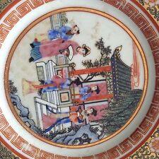 Antico Cinese in famiglia porcellana biscuit PIASTRA con diversi scenari contrassegnati