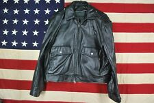 MENS VTG Police Motorcycle Jacket Dean's Crew THICK Heavy SOFT Leather P Buttons
