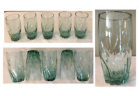 VINTAGE Anchor Hocking Drinking Glass Tumblers GREEN TWIST Central Park 5-PC Set