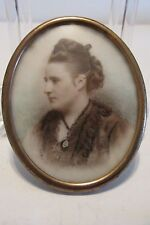 Antique Photograph on Porcelain Hand Painted Accents Oval Frame Victorian Woman