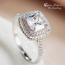 18K White Gold Plated Princess Cut Pink Diamond Line Engagement Halo Ring