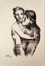 """Original Lithografie, H. M. Pechstein: """"Mutter und Sohn"""", signiert.     (HMP1)"""