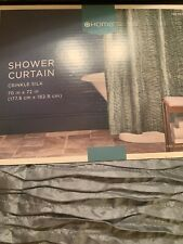 New Target Home Gray Blue Pleated Shower Curtain.