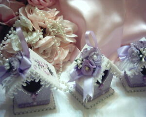 Shabby Victorian Cottage~LAVENDE BIRDHOUSE Ornament #1~Rose Design~Roses~Glitter