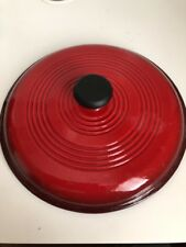 "LODGE RED ENAMELED CAST IRON  LID 10"" DIAMETER 9-1/2"" INNER"