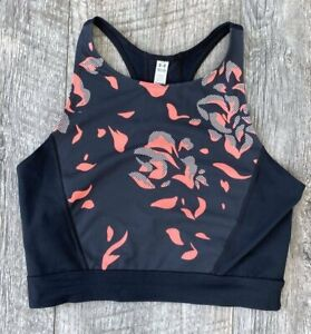 NEW UNDER ARMOUR UA BLACK ORANGE FLORAL PRINTED CROPPED SPORTS BRA TOP SZ M