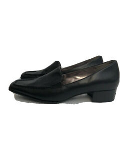 Ladies Ecco Shoes Size 41 Black leather Classic Block Heel UK 7.5 Work Smart