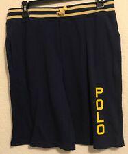 NWT Polo Ralph Lauren Big Boys Kids Logo Spa Terry Shorts Navy Size Large 14-16