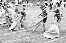 Photo. 1960. UK. Children's School Sports Day - Potato Bag Race