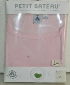 NEW Petit Bateau Tee Shirt Top Long Sleeve Pink Cotton Scalloped 14 A S