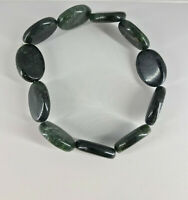 natural black line jasper gemstone ovals beaded stretch bracelet