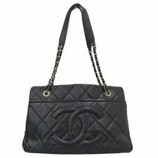 CHANEL Caviar Leather Quilted Chain Shoulder Tote Bag Women Black SHW M1426