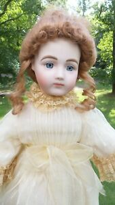 """ANTIQUE! BEAUTIFUL!  20"""" Reproduction FRENCH BRU DOLL BLUE EYES DRESS SHOES"""