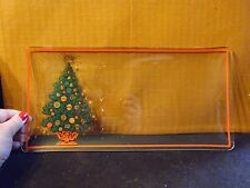 """Vintage Rectangle Clear Glass Christmas Tree Serving Tray 14"""" By 7"""""""