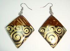 CocoPainted  Circle Painted Coconut Shell Hook Drop/Dangle Earrings Handmade