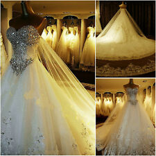 2017 Luxury Sweetheart  crystals cathedral wedding bridal dress gown customed