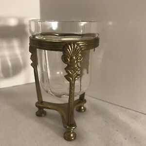India Vintage Brass Pedestal Candle Holder/ Vase Stand With Round Bottom Glass