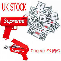 UK STOCK NOW !! HOT!! New Red Supreme Cash Cannon Money Gun In Box Toy Gift