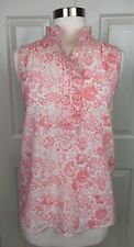 J. Crew Pink ivory floral ruffle neck Popover Sleeveless Tunic Tank Top size 2