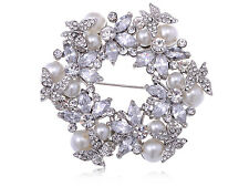 Lady Silver Tone Holiday Inspired Faux Pearl Rhinestone Floral Wreath Pin Brooch