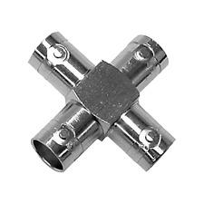 Adaptateur 4 Fiches BNC Femelle Présentation en Croix Qualité Métal