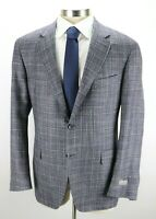 $1850 CANALI Kei Unstructured Blue Wool Silk Cashmere Jacket Coat 50 R fits 48 R