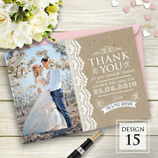 Premium Personalised Wedding Thank You Cards Includes Envelopes and Your Photos