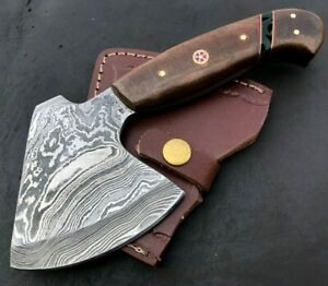 Handmade Axe Damascus Steel Viking Axe-Camping-Outdoors-Leather Sheath-MD145