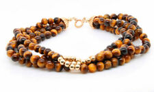 Gem Stone Bracelet Tiger Eye Beads with 14K Yellow Gold Beads and Clasp