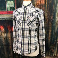 Hollister Men's Blue Yellow Plaid Pearl Snap Up Western Rockabilly Shirt Small