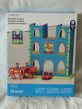 NIB Creatology Wooden Castle Construction Kit Drawbridge Horses Build & Paint It