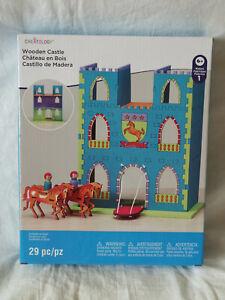 NIB Creatology Wooden Castle Construction Kit Drawbridge Horses Build & Paint It