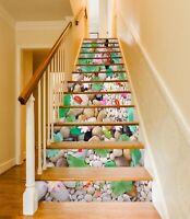 3D Kopfsteinpflaster 230NA Stair Risers Dekoration Vinyl Aufkleber Tapete Fay