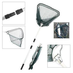 Landing Net Telescopic Folding Fishing Extending Fly Carp Long Handle Durable