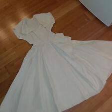 Vintage 40-50's  dress ivory taffeta crepe woman sz 3 4 S full skirt