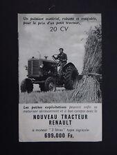 Publicité RENAULT TRACTEUR 20cv 2 litres type agricole tractor Traktor